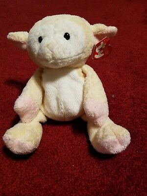 "Ty Pluffies Shearly Cream White Sheep Lamb Plush - 10"" Tall"
