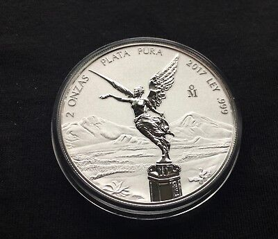 2017 Mexico 2 oz SILVER REVERSE PROOF LIBERTAD - First Year Rare-Gorgeous Coin!!