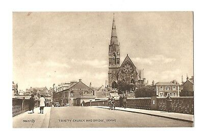 Irvine - a printed photographic postcard of Trinity Church and Bridge