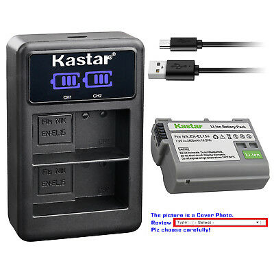 Kastar Battery LCD Dual Charger for Nikon Original EN-EL15a Nikon Genuine MH-25a
