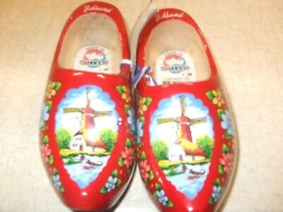 Vintage Childs Wooden Red Dutch Shoes Made in Holland NWT