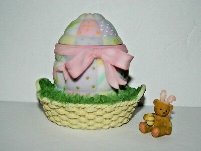 Cherished Teddies Easter Surprise Quilted Egg Mini Teddy Bear Tiny Figurine 2010