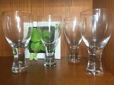 4 Suspended Bubble Clear Glass Wine Glasses Water Goblets in Iittala Tapio Style