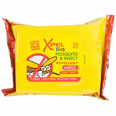 25 x Xpel Kids Deet Free Mosquito & Insect Repellent Wipes Long Lasting Holiday