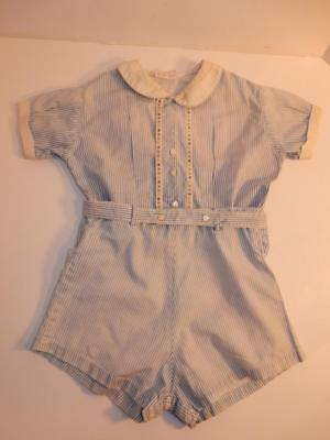 Vintage 1940S Baby Boy Romper Blue Stripes Shorts Outfit Or Composition Doll