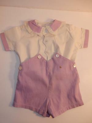 Vintage 1940S Royal Baby Boy Romper Lavender Shorts Outfit Or Composition Doll