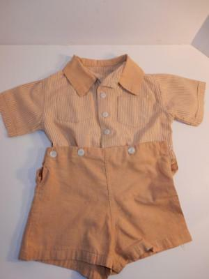 Vintage 1940S Baby Boy Romper Beige Stripes Shorts Outfit Or Composition Doll