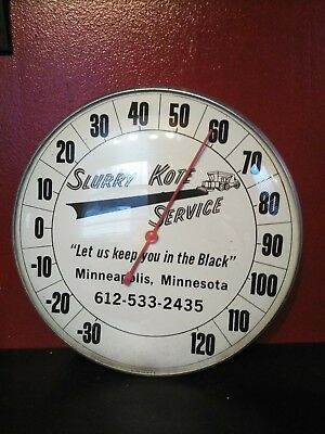 vintage SLURRY KOTE SERVICE BLACK TOPPING MINN. round advertising thermometer