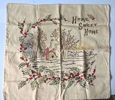 Vintage Home Sweet Home Hand Embroidery Pillow Cover Winter Christmas 22x20