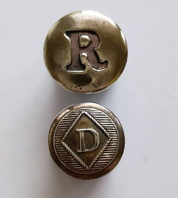 Pair 2 Antique Stamped Brass with an R & a D Initial Glove Buttons