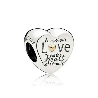 Authentic Pandora Sterling Silver and 14K Heart of the Family Charm #796265
