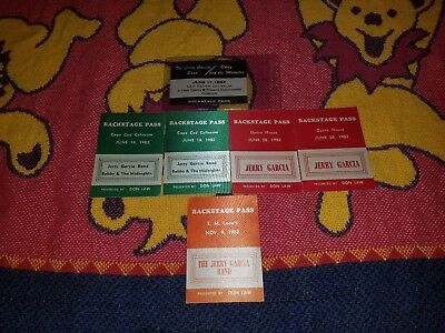 Lot Of 6 Jerry Garcia Band & Bobby & The Midnites Backstage Passes June 18, 1982