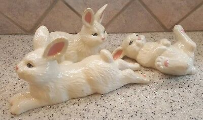Set of 3 Rabbit Figurines Scioto Molds White Rabbit Ceramic Figurines 10""