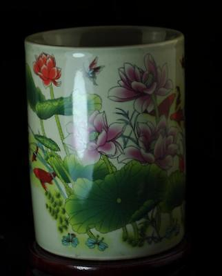 China Old Pastel Porcelain Hand Painted Lotus Flower Brush Pot/tongzhi Mark C01