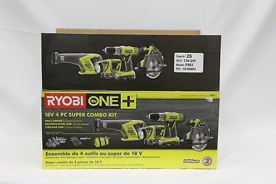 Ryobi P883 18-Volt ONE+ Cordless 4-Tool Super Kit w/ Batteries, Charger, & Bag