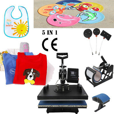 5 in1 Sublimation Heat Press Transfer Machine Printer Mug Cup Plate Hat T-Shirt
