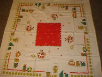 "Vintage Heavy Cotton Tablecloth Red Center Kitchen Items Jam 48"" by 45"""