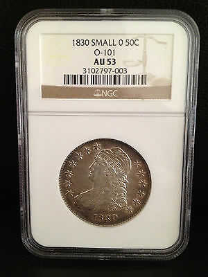 1830 Small 0 Capped Bust Half Dollar 50C Graded AU53 AU 53 by NGC O-101 AWESOME