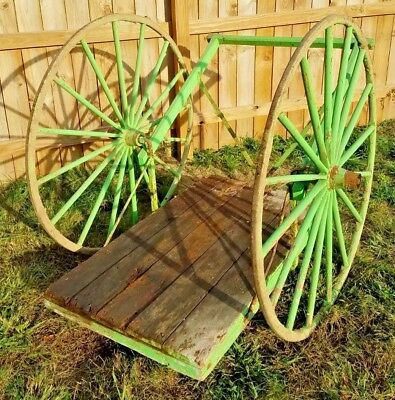 Antique Wooden Milk Cart Delivery Wagon Wood Wheels Metal Rims