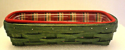 293 - Longaberger Dark Green Bread Basket Set w/plaid liner and protector