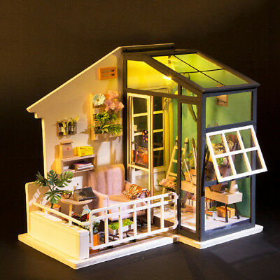 ROBOTIME DIY Balcony With Furniture Wooden Dollhouse Miniature Kits to Build