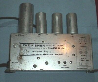 One original vintage Fisher stereo preamp chassis type PR-66- with tubes