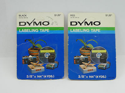 """2 Dymo Self Adhesive Labeling Tapes 3/8"""" x 144"""" ~ 1 Glossy Black & 1 Glossy Red"""