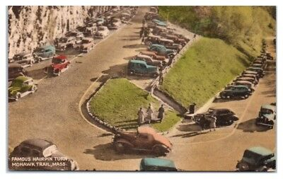 1941 Hairpin Turn, Mohawk Trail, MA Hand-Colored Postcard