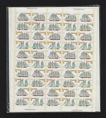 Canada Stamps — Full Pane of 50  — 1977, Voiliers / Sailing Vessels #744-47 MNH