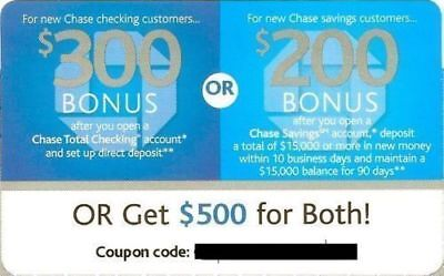 CHASE $500 Coupon ($300 Checking, $200 Savings) Get Code Right Away EXP March 5