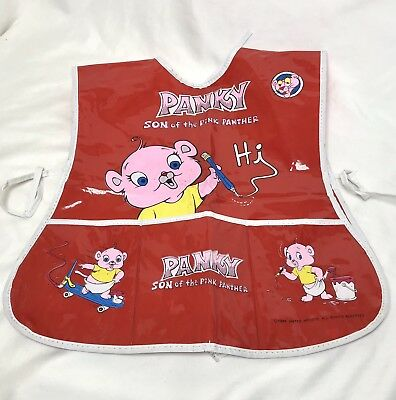 Panky Son of Pink Panther Red Plastic Apron Childrens Kids Art Painting Vtg 1984