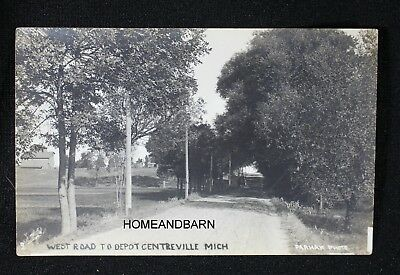 Old Photo Postcard West Road To Depot Centreville Michigan