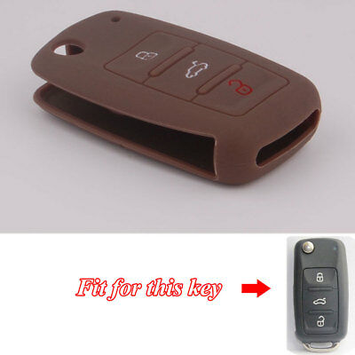 Brown Silicone Key Shell Flip Remote Key Cover Fob For Golf MK6 Transporter 3BTN