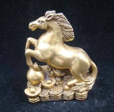 Collectible Handmade Carving Statue Figurine Brass Chinese Zodiac Horse