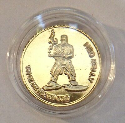 """Awesome 2011 """"NED KELLY"""" Mini Coin Finished in 24 Karat Gold"""