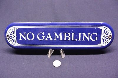 "Porcelain ""NO GAMBLING"" Sign: 2.5"" x 10"""