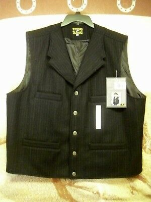 Men's Wyoming Traders Old West 100% Wool Cowboy Vest w/Lapels SASS CMSA XL NWT