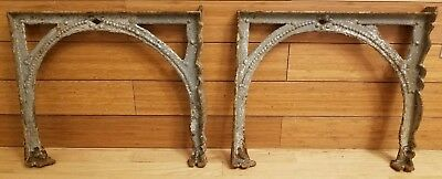 "Antique Soapstone Sink Ornate Cast Iron Sink Legs Brackets 14.75"" T x 17"""