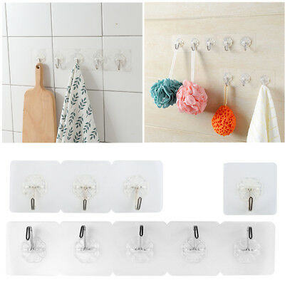 4pcs Anti-skid Hooks Wall Door Scrub Strong Sticky Traceless Transparent Hook AU