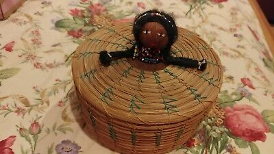 Vintage Seminole Lidded Basket With Doll Head