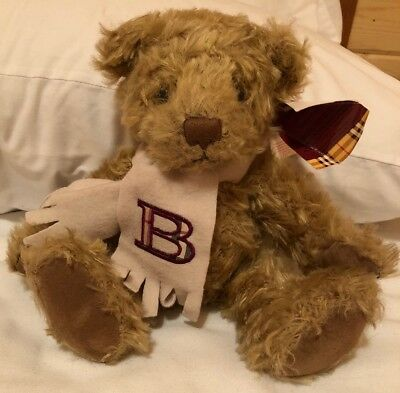 """Burberry Teddy Bear W/ Scarf Embroidered 'B' Collectible 11"""", tags"""