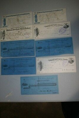 9 Railroad companies' 19th century checks.