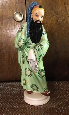 ANTIQUE Trevir Vicenza ARTIST SIGNED Majolica Pottery Figurine Asian Man 1940's