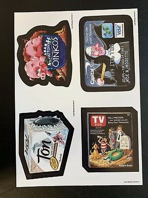 LOST WACKY PACKAGES Series 4 QUAD BLOCK With TV DIED and TON