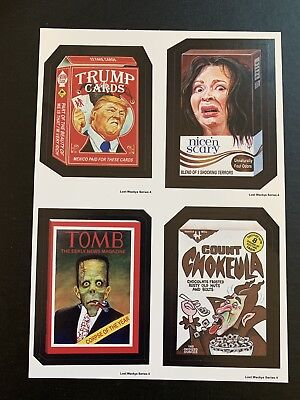 LOST WACKY PACKAGES Series 4 QUAD BLOCK With Donald Trump RED
