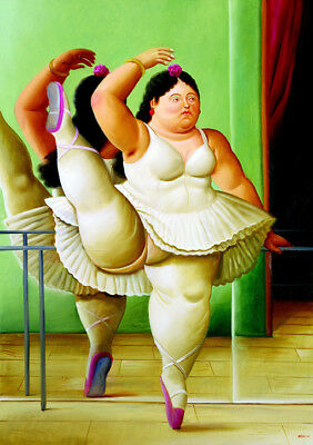 "Fernando Botero - ""Dancer at The Barre"" HD Print on Art Fabric Wall Decor #M404"