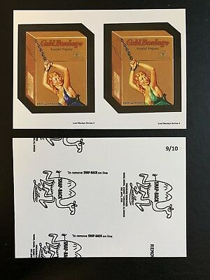 Lost Wacky Packages 4th Double Black LUDLOW Gold Bondage Blue / Green #9/10