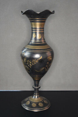 """Antique Collectible Indian Brass Etched Vase, 8"""" tall, 2 1/2""""  diameter"""