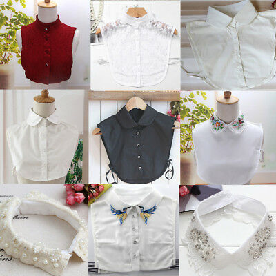 Women Detachable Lapel Shirt Fake False Collar Choker Lace Removable Necklace gh