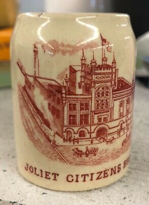 RARE JOLIET CITIZENS BREWING CO.MINI STEIN 2 3/8 TALL 1 3/4 WIDE EARLY 1900s